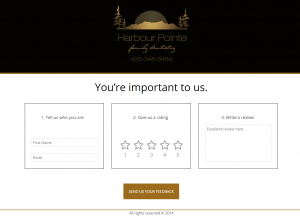 Form to leave feedback in a Harbour Pointe Family Dentistry online review